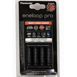 Carregador Panasonic Eneloop Avançado e Inteligente BQ-CC55 com 4 Pilhas Aa Recregáveis Da Eneloop Pro